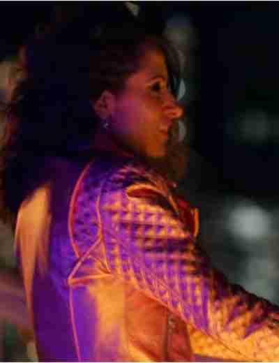 2021 SexLife Sarah Shahi Pink Leather Jacket