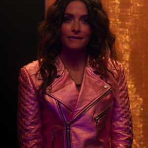 Billie Connelly 2021 SexLife Sarah Shahi Pink Leather Jacket