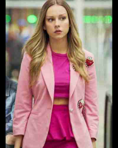 elite short stories 2021 carla roson pink coat with patch