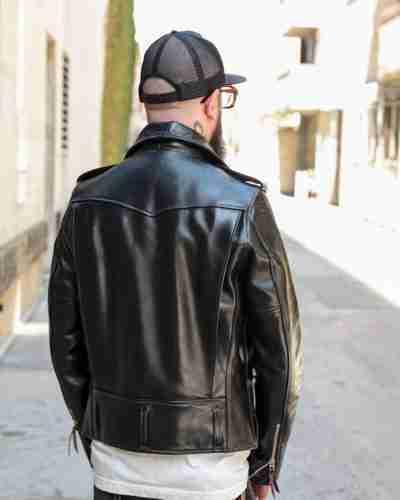 horsehide d-pocket double rider black leather jacket