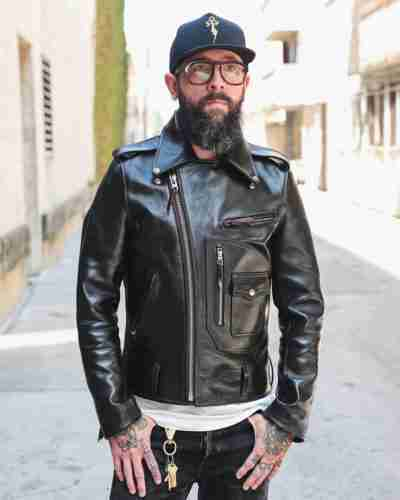horsehide d-pocket double rider jacket