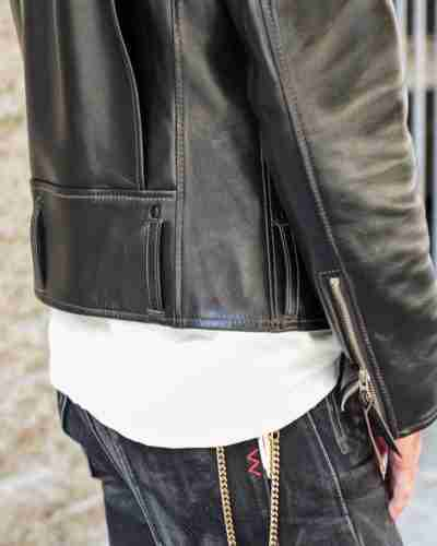 horsehide d-pocket double rider leather jacket