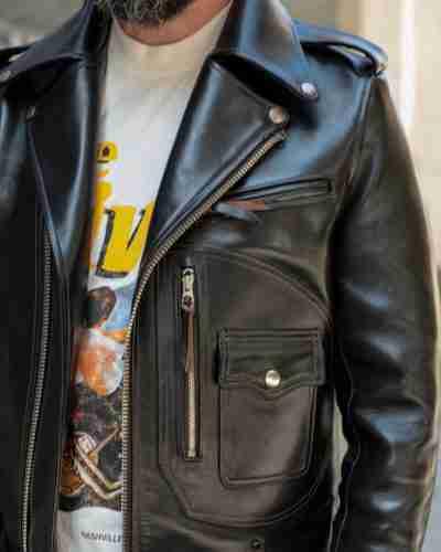 horsehide double rider jacket