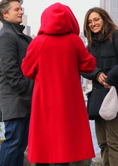 modern love julia garner red coat with hood