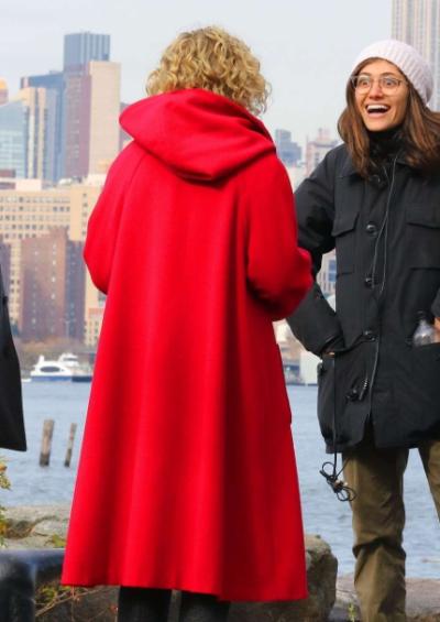 modern love julia garner red hooded coat