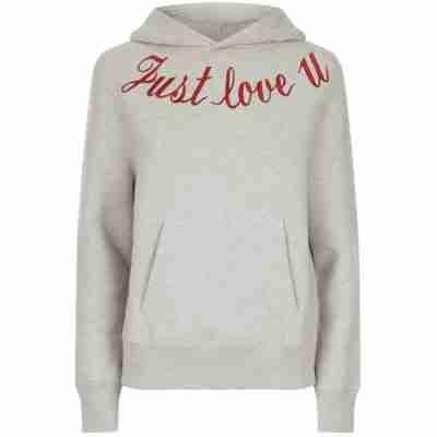 sandro just love u embroidered hoodie