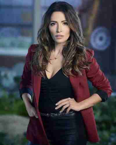 sexlife sarah shahi maroon blazer