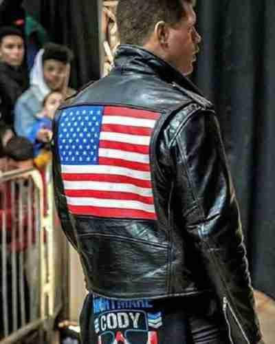 wwe cody rhodes us flag motorcycle black leather jacket