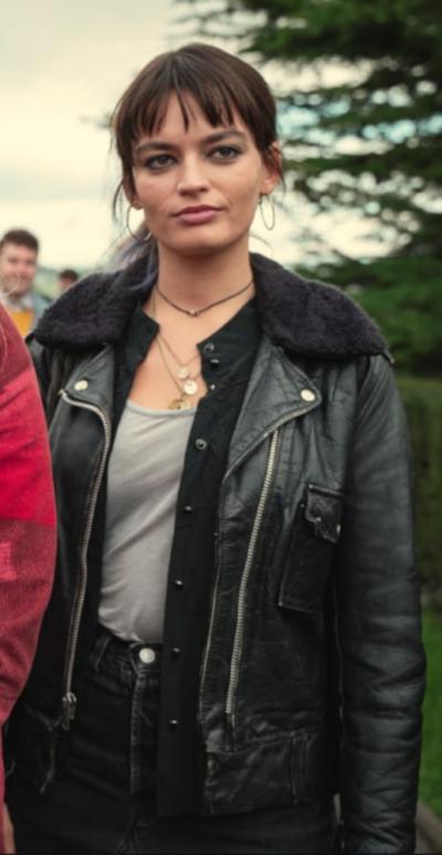 Sex Education S03 Emma Mackey Black Leather Jacket