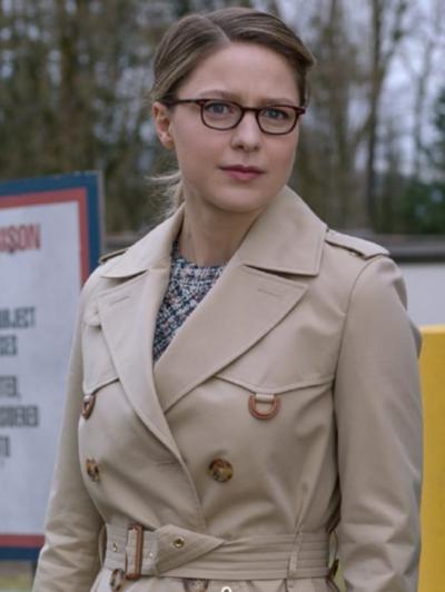 Supergirl Melissa Benoist Off White Trench Coat