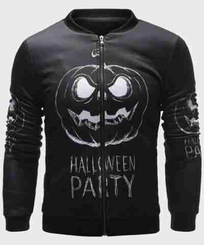 Black Halloween Party Bomber Jacket