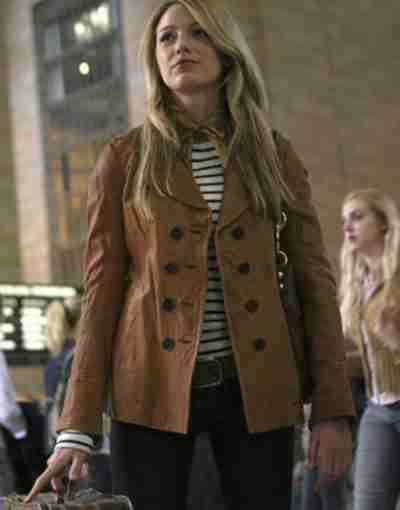 Gossip Girl 2021 Blake Lively Brown Leather Jacket