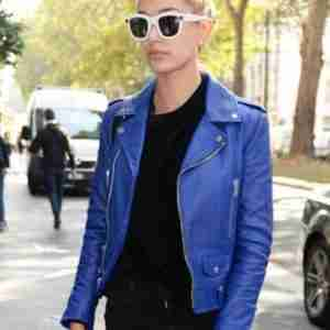 Hailey Bieber Blue Leather Jacket