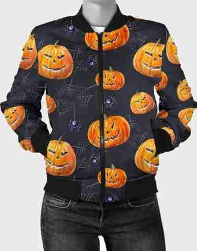 Halloween Pumpkin Bomber Jacket