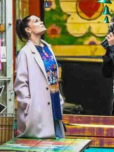 Jessie J Long Pink Coat