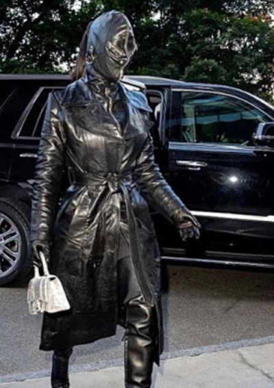 Kim Kardashian Black Leather Trench Coat
