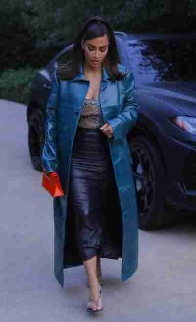 Kim Kardashian Blue Coat