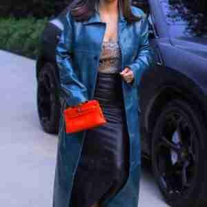 Kim Kardashian Blue Trench Coat