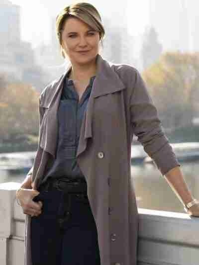 Lucy Lawless My Life Is Murder Gray Trench Coat