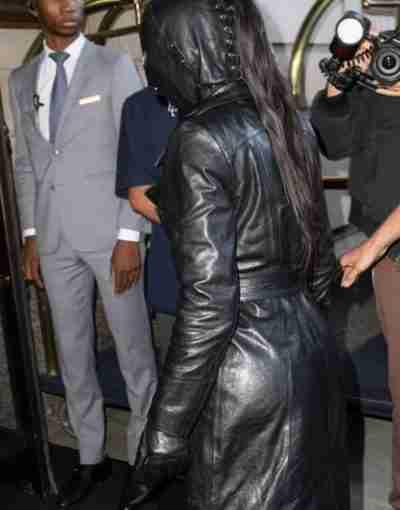 Met Gala Kim Kardashian Black Leather Coat