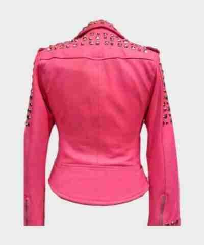 Pink Biker Golden Studded Leather Pink Jacket