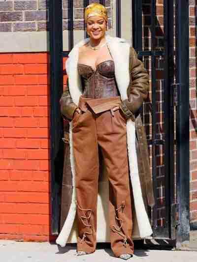 Rihanna Long Sheepskin Leather Coat