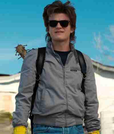 Stranger Things Steve Harrington Grey Bomber Jacket