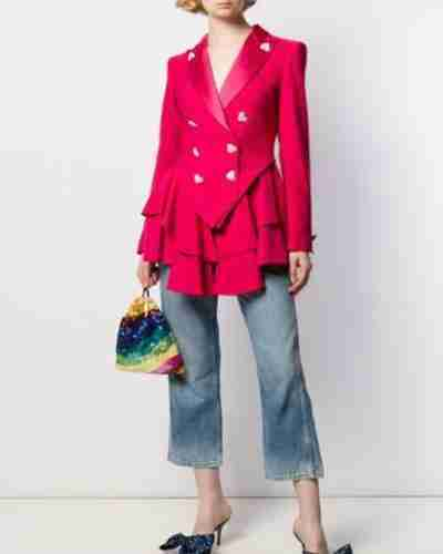 Ted Lasso Keeley's Pink Heart Button Blazers