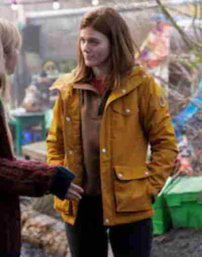 Vigil 2021 Rose Leslie Vibrant Yellow Hooded Jacket