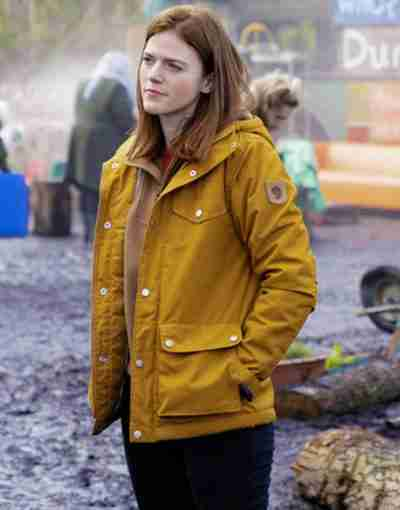 Vigil 2021 Rose Leslie Yellow Hooded Jacket