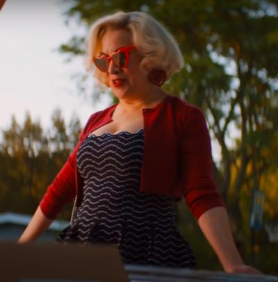 Chucky 2021 Jennifer Tilly red cropped cardigan