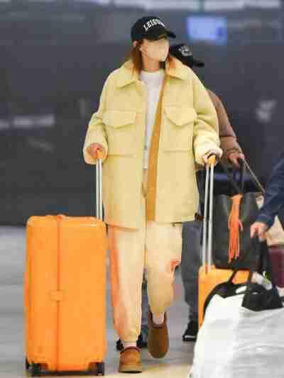 Gigi Hadid Shearling Yellow Coat
