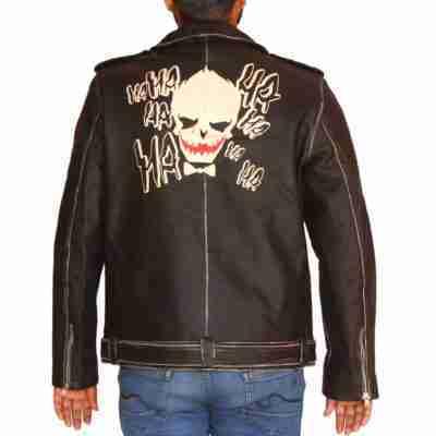 Halloween Face Print Motorcycle Jacket