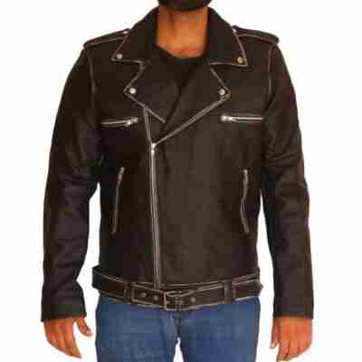 Halloween Face Print Motorcycle Leather Jacket