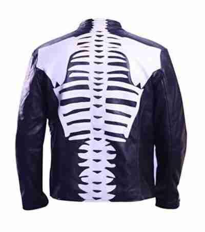 Halloween Skeleton Leather Black Jacket