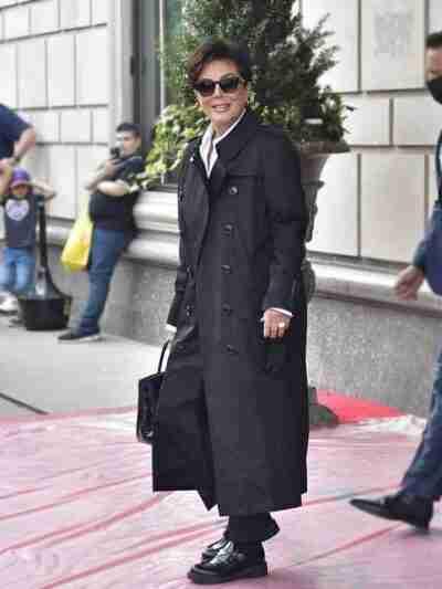 Kris Jenner Black Trench Coat