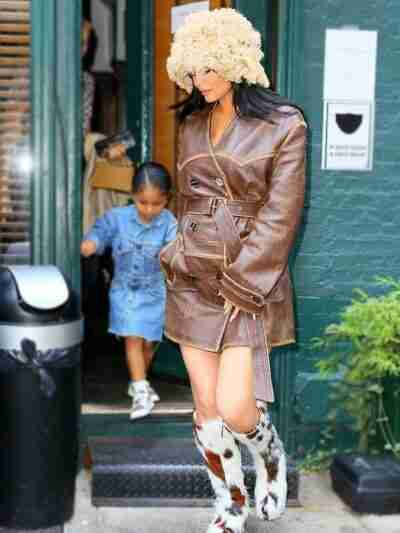 Kylie Jenner Distressed Leather Brown Coat