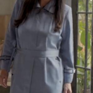 Little Mom Blue Belted Long Coat