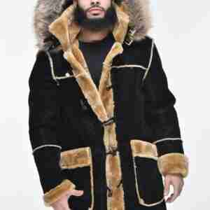 Mens Faux Shearling Hooded Coat