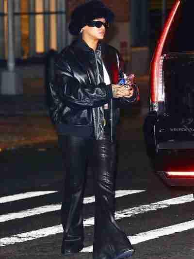 Rihanna Leather Black Bomber Jacket