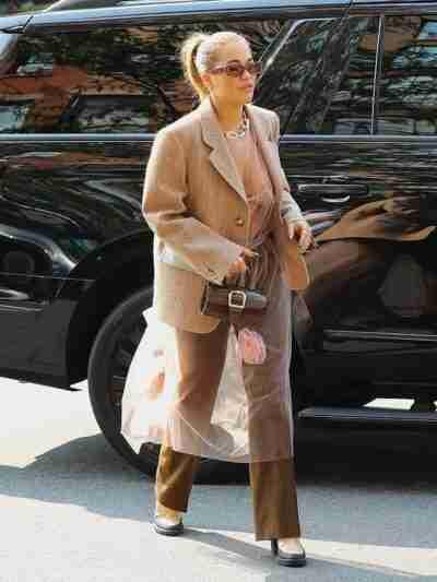 Rita Ora Beige Wool Blazer