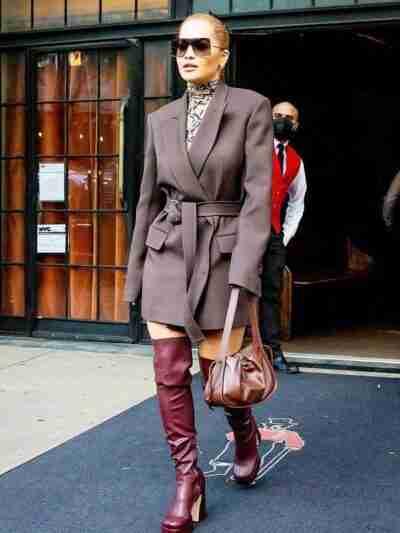 Rita Ora Grey Mid Length Coat