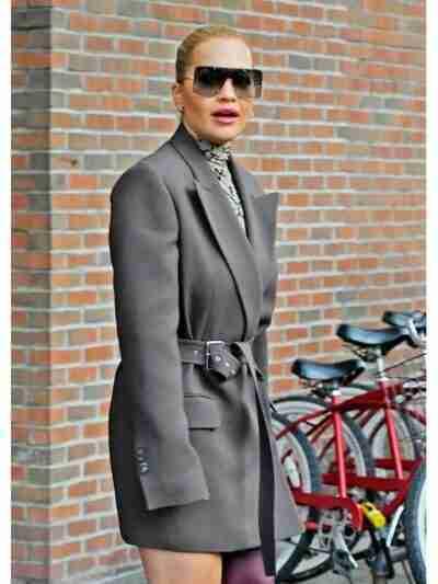 Rita Ora Mid Length Grey Coat