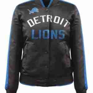 Women Detroit Satin Black Jacket