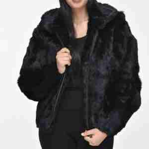 Women Hooded Bomber Fur Jacket