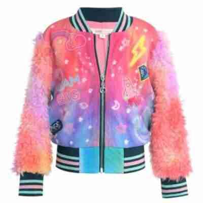 Women Rainbow Printed Cosmic Bomber Jacket