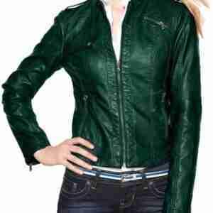 Womens Green Moto Leather Jacket