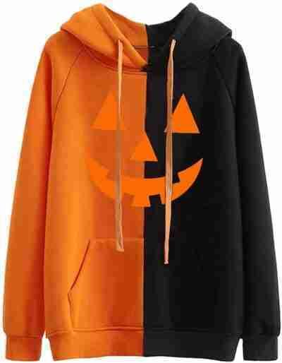 Womens Halloween black and orange Hoodie